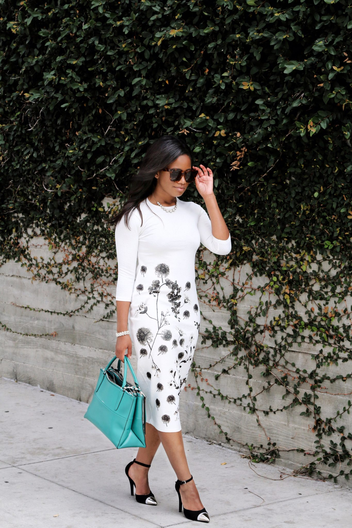 Downtown Demure x Go Modest - White Floral Dress 3