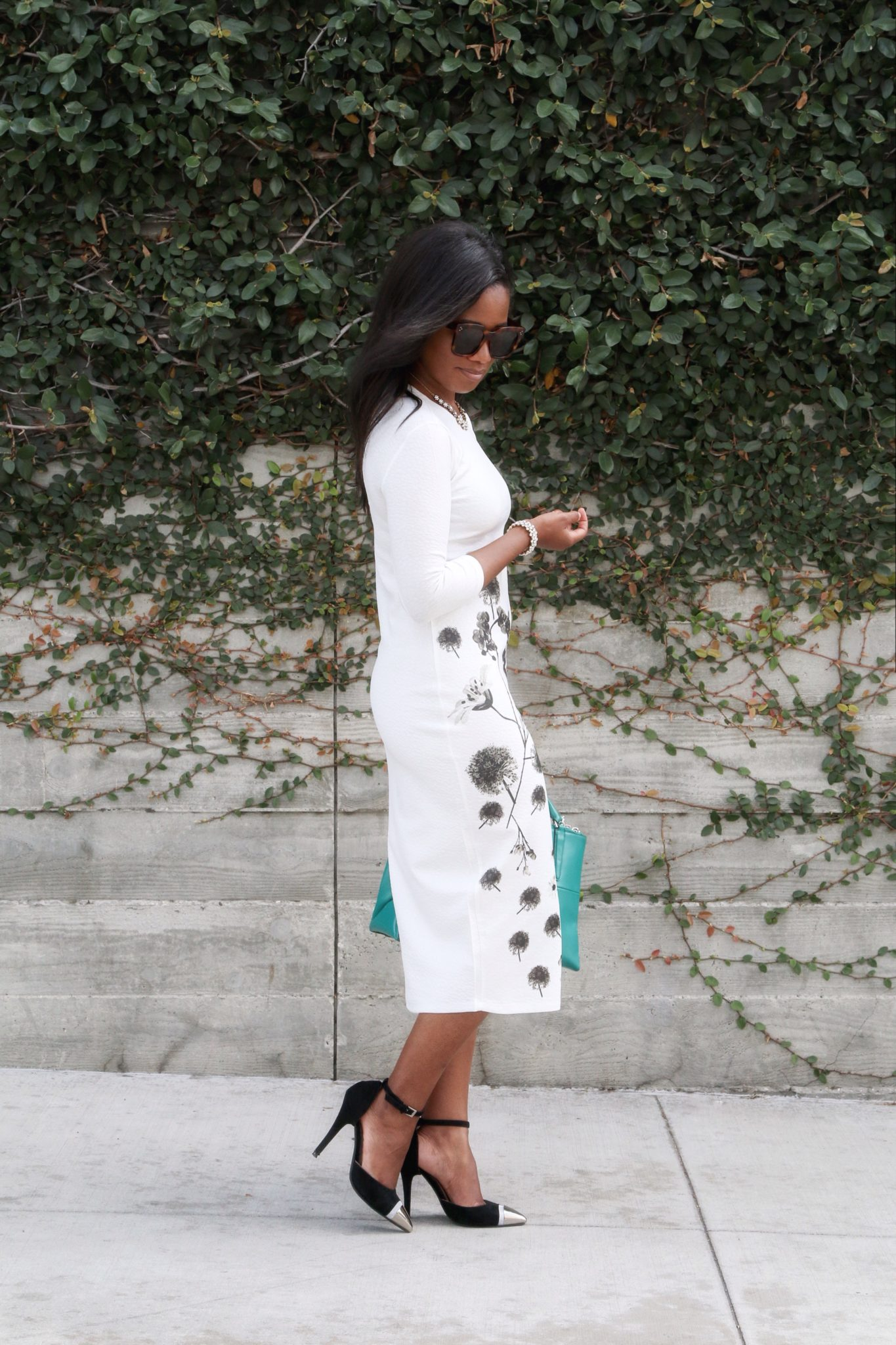 Downtown Demure x Go Modest - White Floral Dress 4