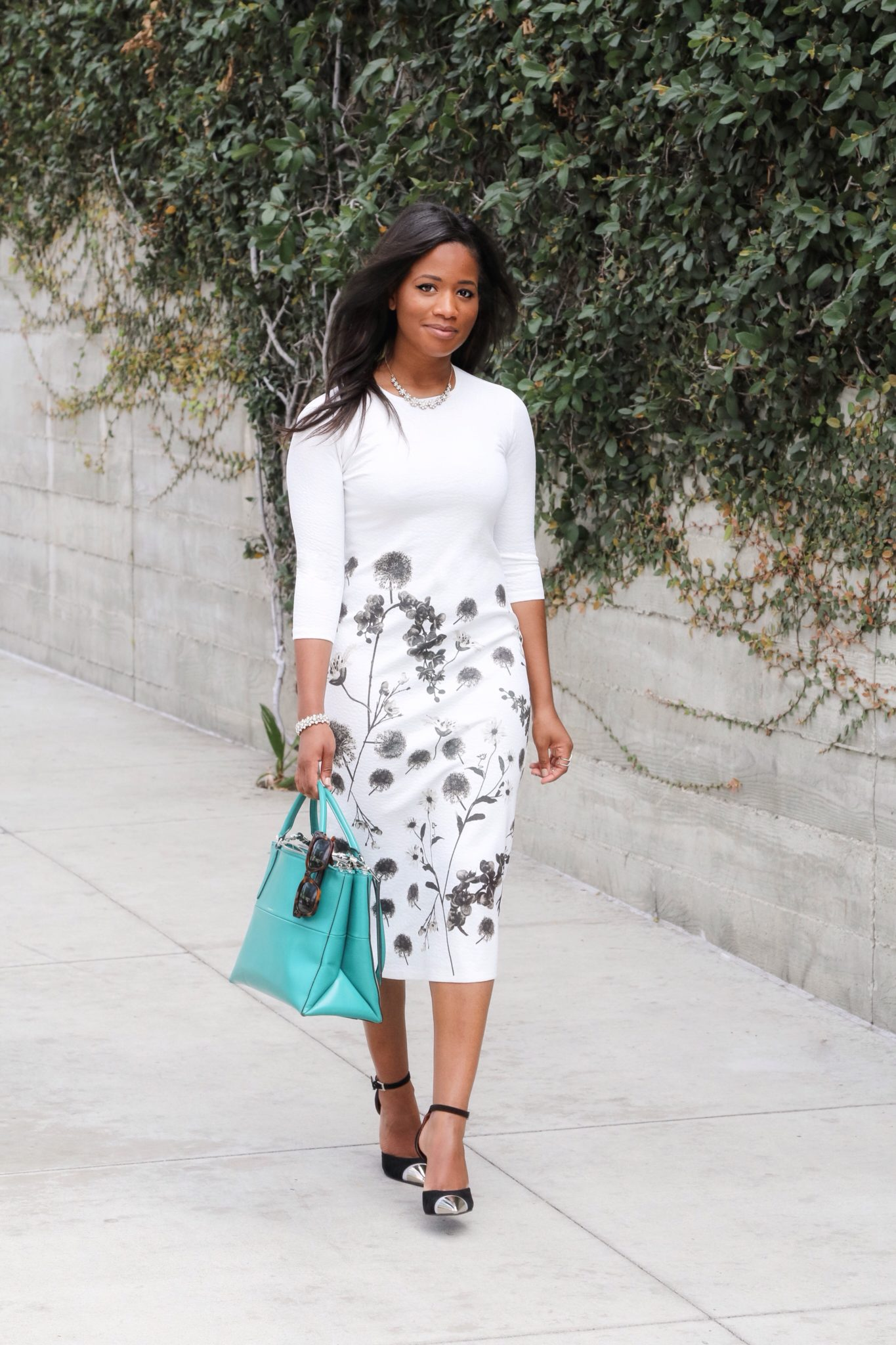 Downtown Demure x Go Modest - White Floral Dress