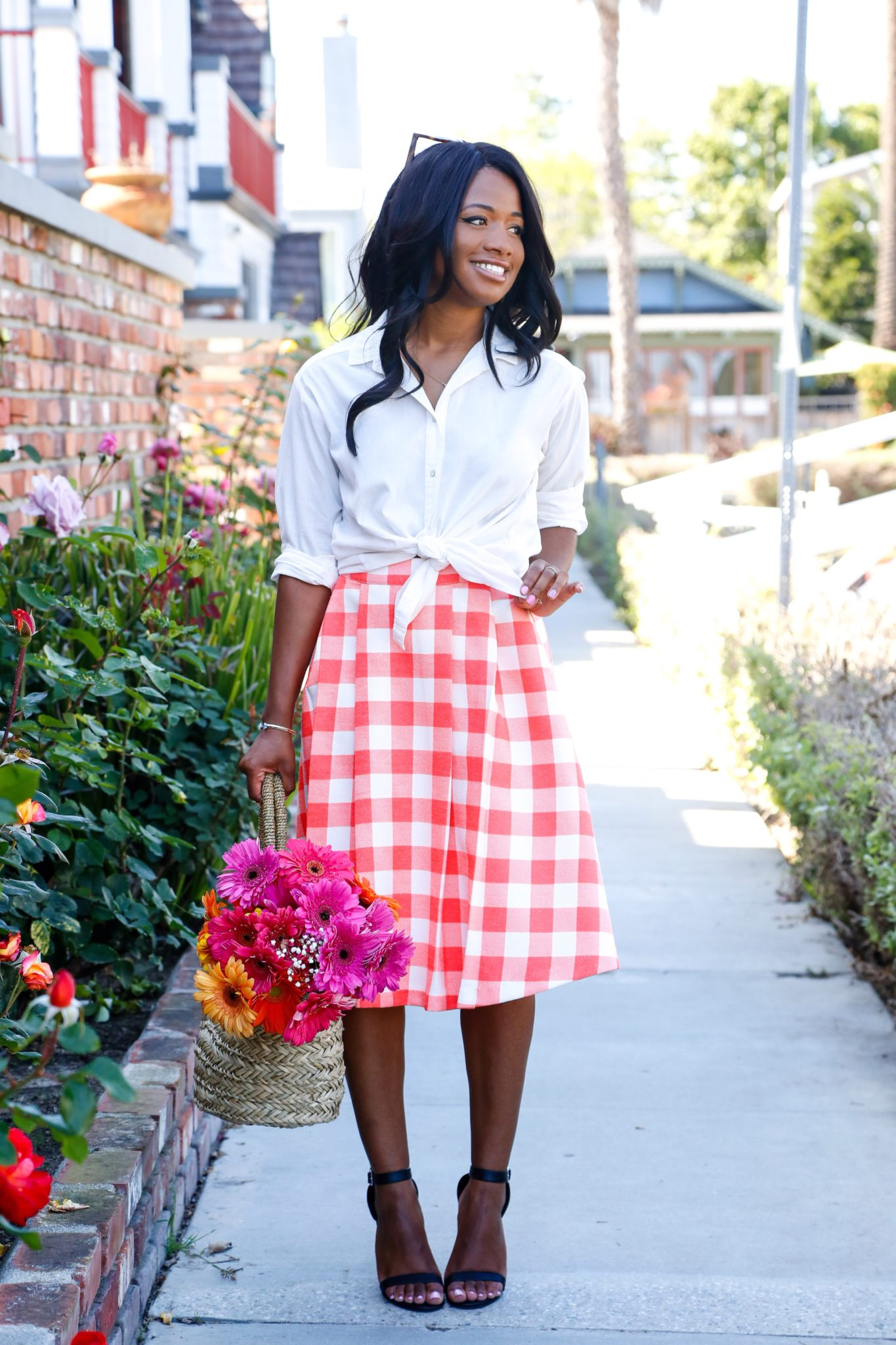 Gingham + Flowers on DowntownDemure.com - Modest Fashion Blog