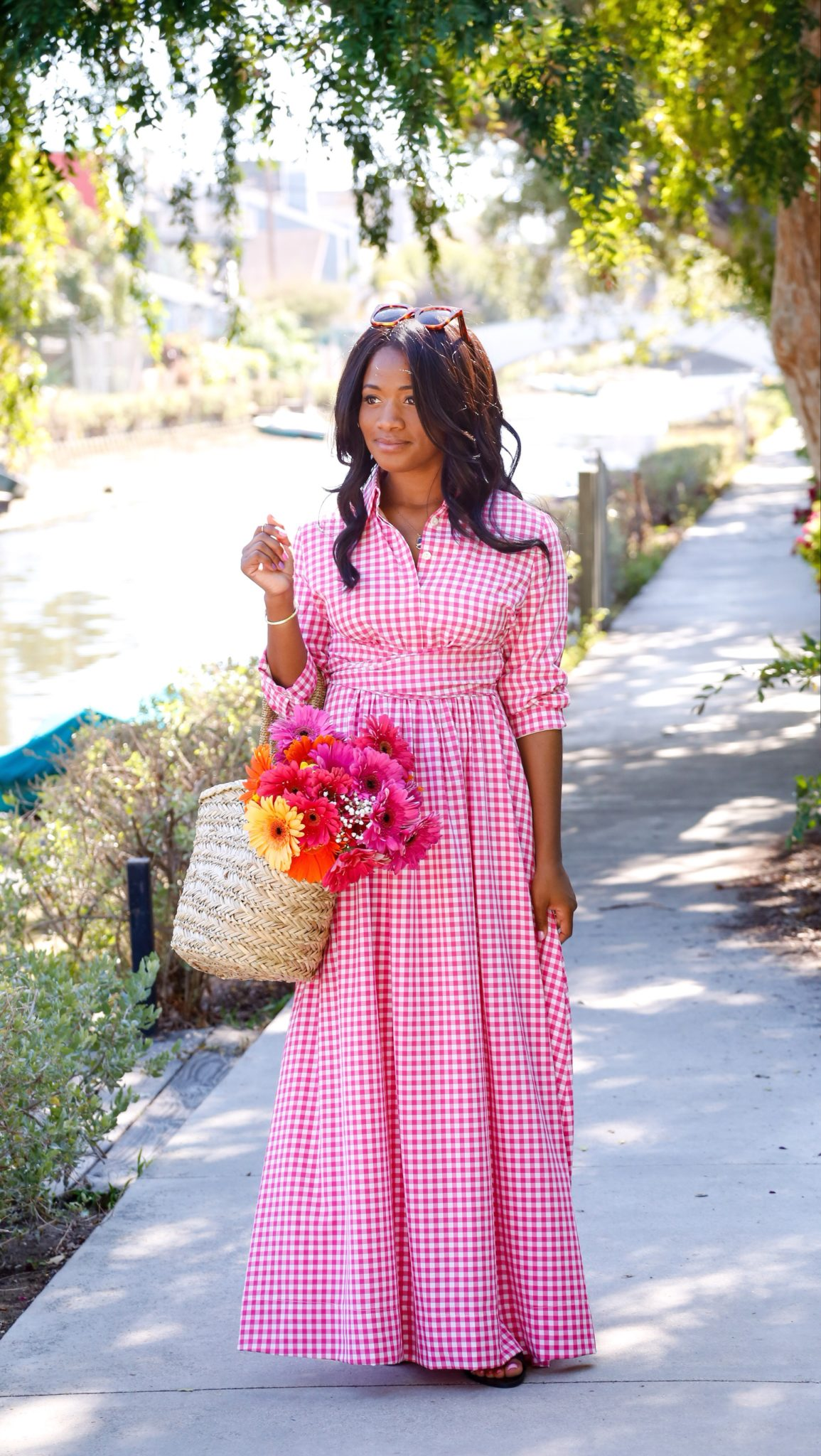 modest dainty jewell's gingham pink dress on Downtown Demure