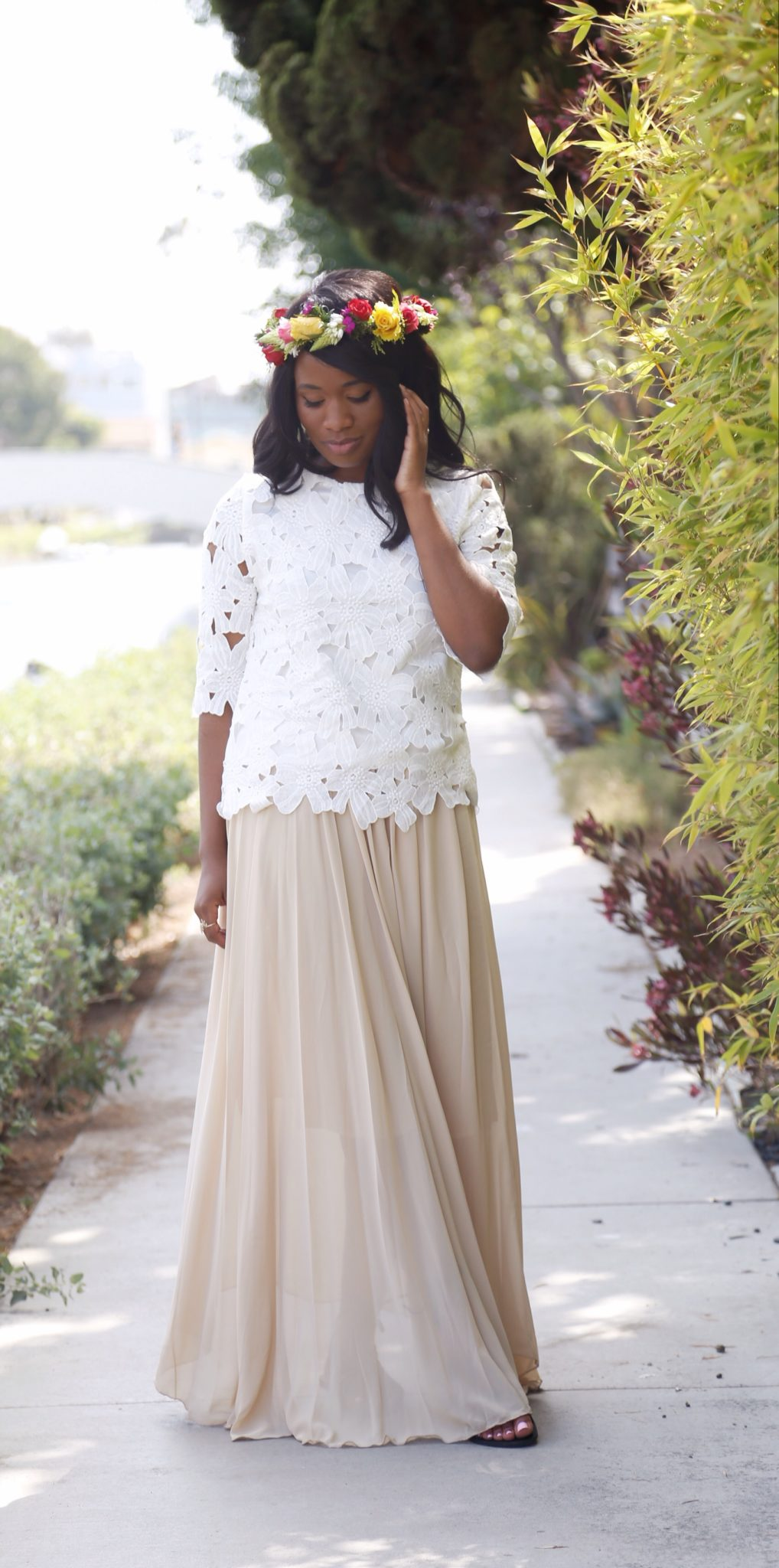 A gorgeous chiffon maxi and lace top from Adara - DowntownDemure.com (3)
