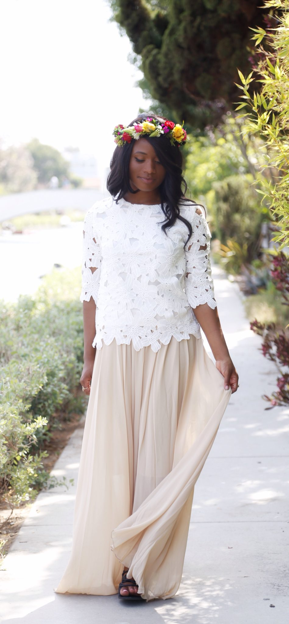 A gorgeous chiffon maxi and lace top from Adara - DowntownDemure.com