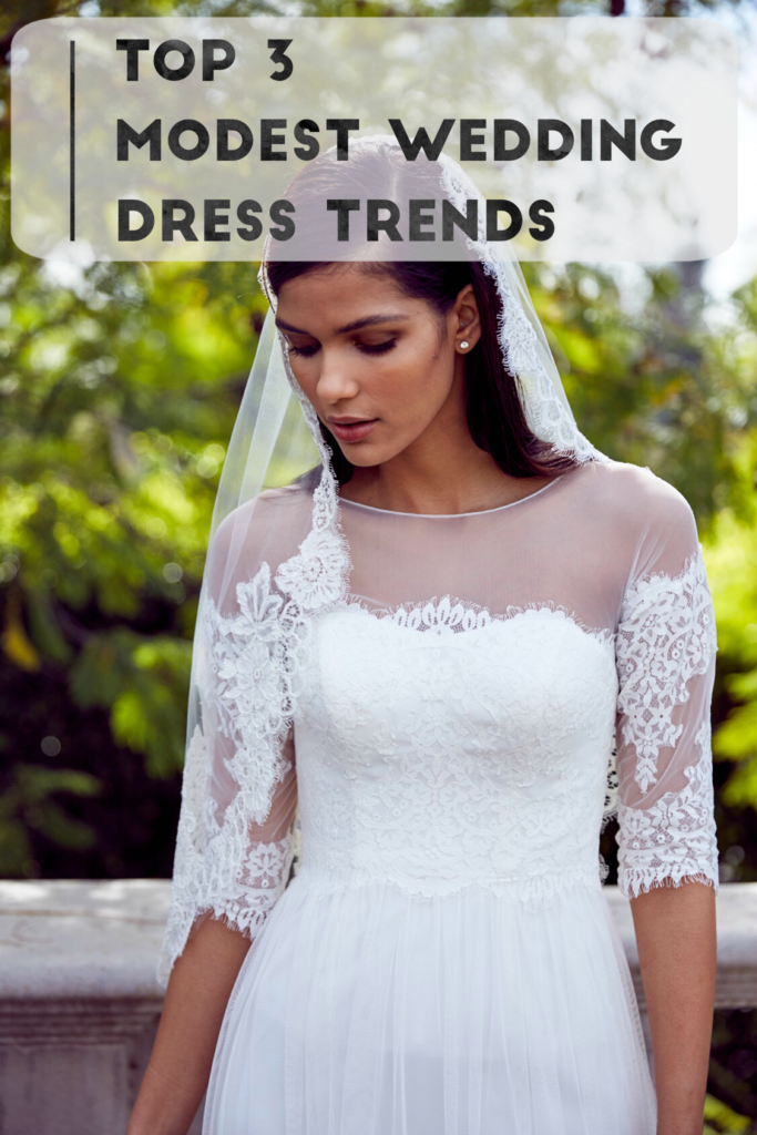 Top 3 modest wedding dress trends ft david s bridal for Modest wedding dresses under 500