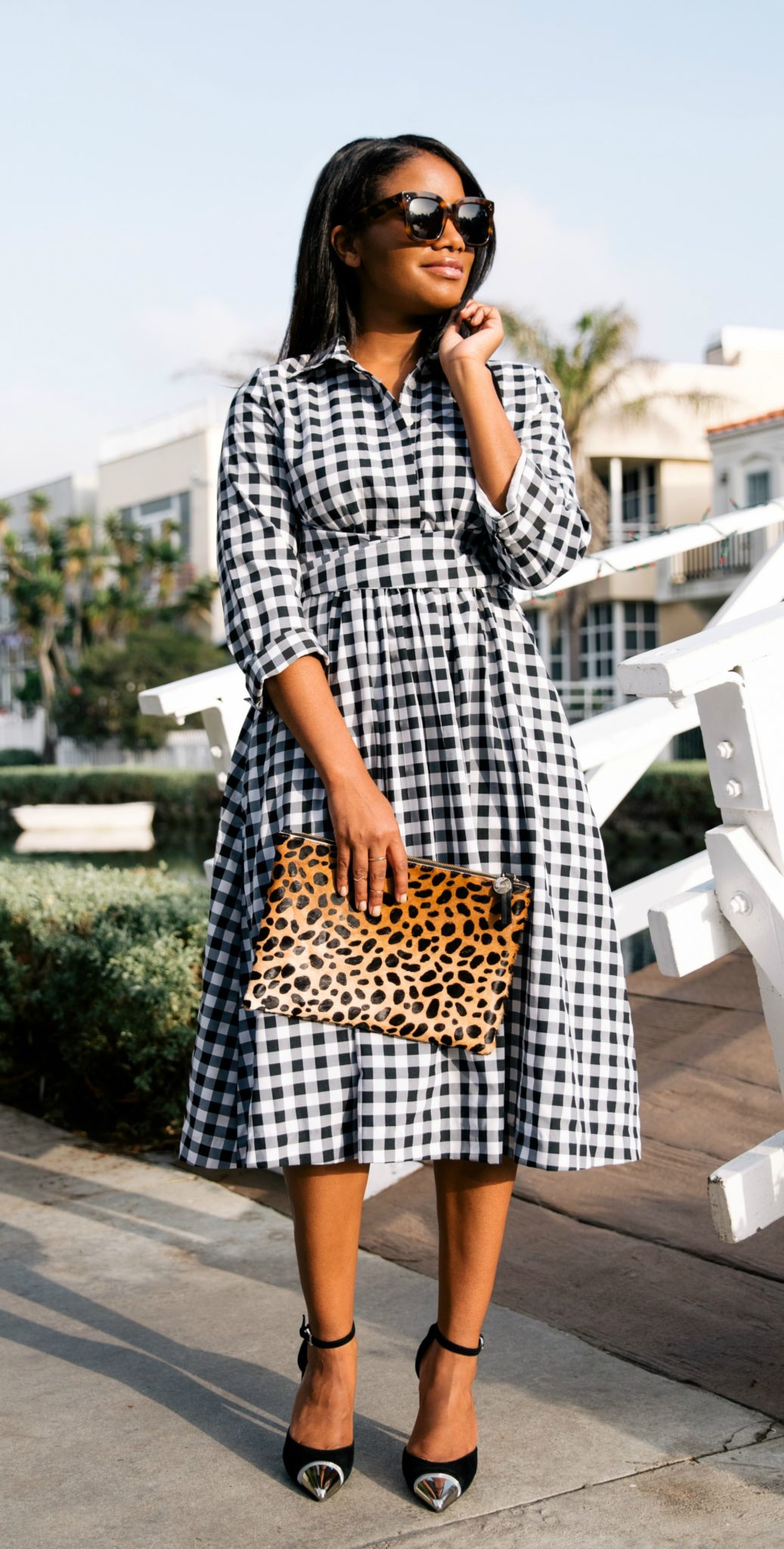 modest black and white check dress via downtowndemure