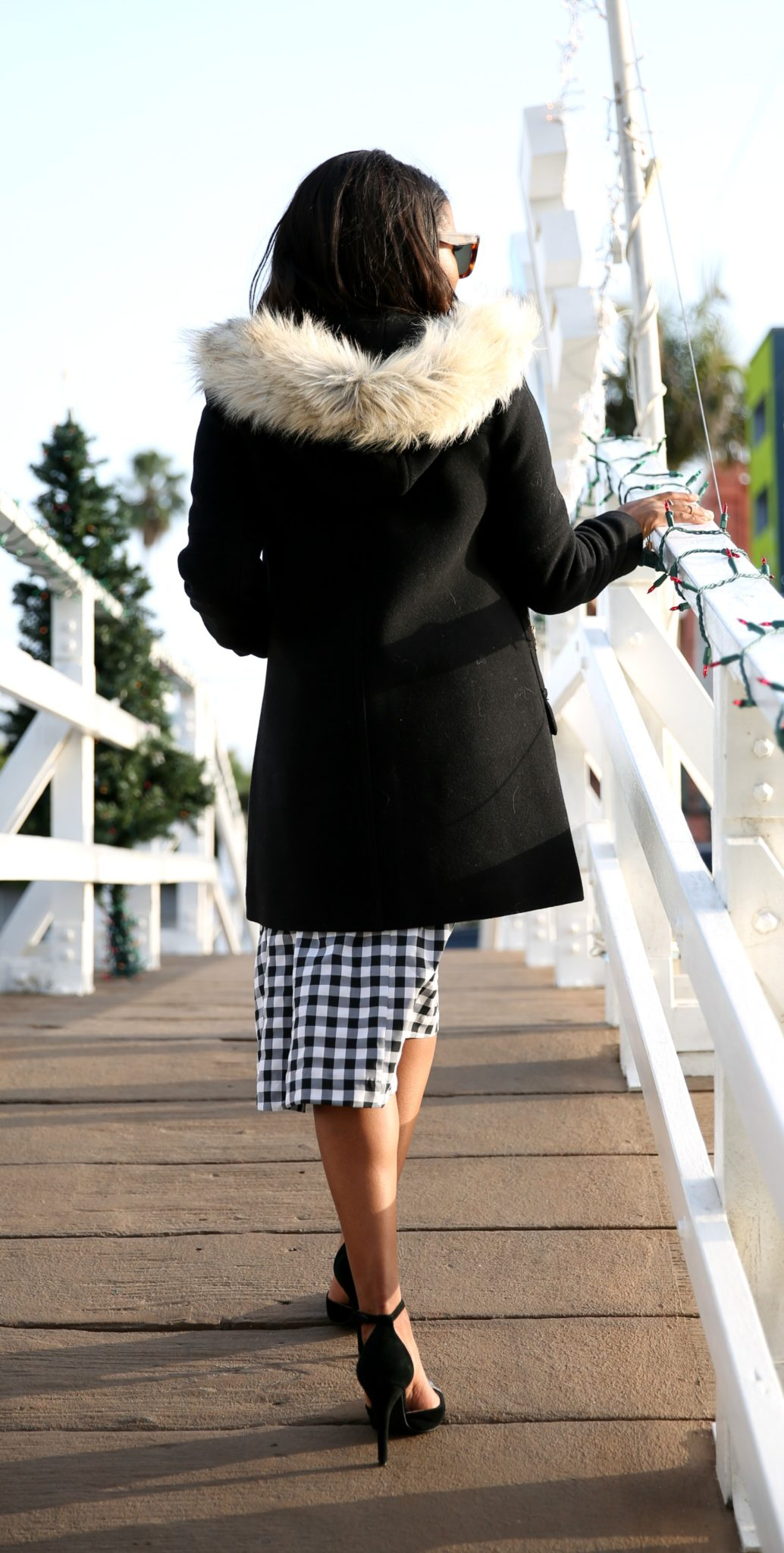 modest black and white checker dress via downtown demure